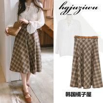 skirt Autumn of 2018 S,M,L,XL Shirt, skirt Mid length dress Versatile High waist High waist skirt lattice Type A 18-24 years old 30% and below other Other / other other Pleated, zipper
