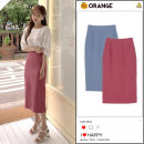 skirt Summer 2020 S,M,L,XL Sapphire blue, red Mid length dress commute High waist skirt Solid color Type H 18-24 years old 31% (inclusive) - 50% (inclusive) other cotton zipper Korean version
