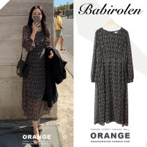 Dress Autumn of 2019 black S,M,L,XL Mid length dress singleton  Long sleeves commute Crew neck High waist Broken flowers zipper A-line skirt Others 18-24 years old Type A Other / other Korean version printing