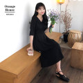 Dress Summer 2020 Sky blue, black S,M,L,XL longuette singleton  elbow sleeve commute Polo collar High waist Solid color Socket Big swing routine Others 18-24 years old Type A Other / other Korean version Bow, button 81% (inclusive) - 90% (inclusive)