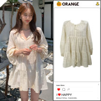 Dress Summer 2020 Apricot S,M,L,XL Short skirt singleton  Long sleeves Sweet V-neck Loose waist Solid color Socket Ruffle Skirt other Others 18-24 years old Type A Other / other college