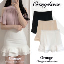 skirt Summer 2020 S,M,L,XL Apricot, white, black Short skirt Versatile High waist Ruffle Skirt Solid color Type A 18-24 years old