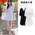 Dress Summer of 2019 White, black S,M,L,XL Short skirt singleton  Short sleeve commute V-neck High waist Solid color zipper A-line skirt Lotus leaf sleeve Others 18-24 years old Type A Other / other Korean version