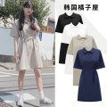 Dress Summer of 2019 White, Navy, black, khaki S,M,L,XL Middle-skirt singleton  Short sleeve Sweet Polo collar Loose waist Solid color Three buttons other routine Others 18-24 years old Type H Other / other Lace up, stitching, bandage, button JZW1933# college
