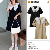 Dress Summer 2020 Black, khaki Average size Short skirt singleton  Short sleeve commute Doll Collar Loose waist Solid color Socket A-line skirt puff sleeve Others 18-24 years old Type A Other / other Korean version Bowknot, lace, stitching, zipper, lace