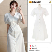 Dress Summer 2020 white S,M,L,XL Mid length dress singleton  Short sleeve commute V-neck High waist Solid color Single breasted A-line skirt Others 18-24 years old Type A Korean version Button, stitching, lace up other cotton