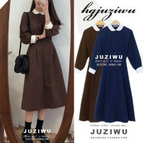 Dress Autumn of 2018 Blue, brown S,M,L,XL Mid length dress singleton  Long sleeves Sweet Doll Collar High waist Solid color Single breasted Big swing shirt sleeve Others 18-24 years old Type A Other / other Pleating, stitching, buttons 31% (inclusive) - 50% (inclusive) other college