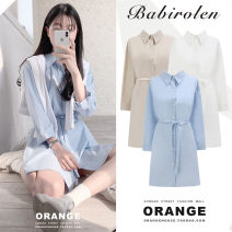 Dress Autumn of 2019 Apricot, white, blue S,M,L,XL Short skirt singleton  Long sleeves commute Polo collar Loose waist Solid color Single breasted A-line skirt shirt sleeve Others 18-24 years old Type A Other / other Korean version Bows, ties, buttons