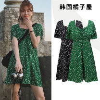 Dress Summer of 2019 Green, black S,M,L,XL Short skirt singleton  Short sleeve Sweet V-neck High waist Broken flowers A-line skirt routine Others 18-24 years old Type A Other / other Pleated, zipper Chiffon college