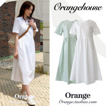 Dress Summer 2020 White, mint green S,M,L,XL Mid length dress singleton  Short sleeve commute Crew neck Loose waist Solid color zipper A-line skirt routine Others 18-24 years old Type A Korean version zipper