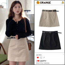 skirt Summer 2020 S,M,L,XL Black (for belt), khaki (for belt) Short skirt commute High waist A-line skirt Solid color Type A 18-24 years old Retro