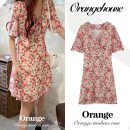 Dress Summer 2020 Picture color S,M,L Short skirt singleton  Short sleeve commute V-neck High waist Broken flowers zipper A-line skirt other Others 18-24 years old Type A Korean version Bow, print, zipper JZW9052#