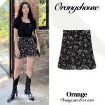 skirt Summer 2020 S,M,L,XL black Short skirt commute High waist A-line skirt Broken flowers Type A 18-24 years old Chiffon Zipper, print Korean version