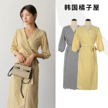 Dress Summer 2021 Yellow, black and white S,M,L,XL Mid length dress singleton  elbow sleeve commute V-neck High waist lattice other One pace skirt other Others 18-24 years old Other / other Korean version
