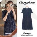 Dress Summer 2020 navy blue S,M,L,XL longuette singleton  Short sleeve commute V-neck High waist Dot zipper A-line skirt routine Others 18-24 years old Type A Korean version Bowknot, lace up, stitching, bandage, printing JZW1076