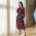 Dress Spring 2020 Red and white flowers on a black background XL,L,M longuette singleton  Long sleeves stand collar High waist Decor Socket A-line skirt Pile sleeve 30-34 years old Li Chun fashion printing More than 95% other silk