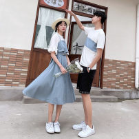 Dress Summer 2021 Men's T-shirt women's dress men's black shorts S M L XL XXL XXXL longuette singleton  Short sleeve commute Crew neck High waist Solid color Socket A-line skirt routine 18-24 years old Type A Trend Castle Korean version Splicing More than 95% polyester fiber Polyester 100%