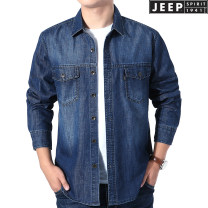 shirt Fashion City Jeep / Jeep Black, blue routine other Long sleeves easy Other leisure spring youth Simplicity in Europe and America 2021 Solid color Denim No iron treatment cotton Multiple pockets Easy to wear