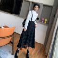 skirt Summer 2020 S,M,L,XL black longuette commute High waist A-line skirt lattice Type A More than 95% straps