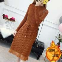 Dress Winter 2020 Khaki - no velvet, Caramel - no velvet, Brown - no velvet, black - no velvet, khaki - velvet, Caramel - velvet, Brown - velvet, black - velvet M (recommended 95-110 kg), l (recommended 110-120 kg), XL (recommended 120-130 kg), 2XL (recommended 130-140 kg), s (recommended 85-95 kg)
