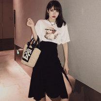 Fashion suit Summer 2021 S,M,L,XL White top + black skirt 91% (inclusive) - 95% (inclusive) cotton