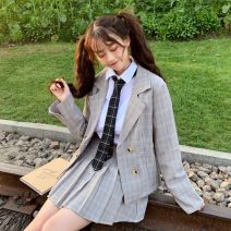 suit Spring of 2019 White shirt + tie, plaid suit S. M, average size Long sleeves routine easy tailored collar Single breasted Sweet routine lattice 18-24 years old