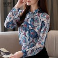 Lace / Chiffon Spring 2020 Blue, greyish green S,M,L,XL,2XL Long sleeves commute Cardigan singleton  Straight cylinder Regular stand collar Decor routine Bow, fold, lace, print Retro 96% and above polyester fiber