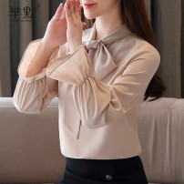 Lace / Chiffon Spring 2020 Apricot, white S,M,L,XL,2XL Long sleeves commute Socket singleton  Straight cylinder Regular stand collar Solid color pagoda sleeve Bow tie Korean version 96% and above polyester fiber