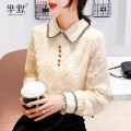 Lace / Chiffon Winter 2020 Apricot, apricot plush, collect and give gifts [don't choose this] S,M,L,XL,2XL Long sleeves Versatile Socket singleton  Self cultivation Regular Polo collar Solid color shirt sleeve 96% and above