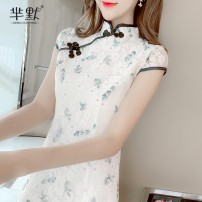 Dress Summer 2020 Picture color, collect and give gifts S,M,L,XL singleton  Short sleeve commute stand collar Decor A-line skirt Korean version