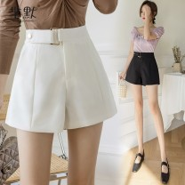 Casual pants White, black, collect and give gifts S,M,L,XL Spring 2021 shorts Wide leg pants High waist commute routine 25-29 years old polyester fiber Korean version Button polyester fiber