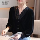 shirt Black, collect and give gifts S,M,L,XL,2XL other 96% and above Long sleeves commute Regular V-neck Single row multi button routine Straight cylinder Korean version