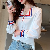 Lace / Chiffon Autumn of 2019 white S,M,L,XL,2XL Long sleeves commute Socket singleton  Straight cylinder Regular stand collar Solid color shirt sleeve Other / other Button