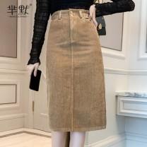 skirt Winter 2020 S,M,L,XL Khaki, black, collection, gift [don't choose this] Mid length dress commute High waist A-line skirt Korean version