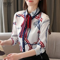 Lace / Chiffon Spring 2020 Red, yellow S,M,L,XL,2XL Long sleeves commute Cardigan singleton  Straight cylinder Regular square neck Decor routine Bow, tie, print lady 96% and above polyester fiber
