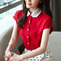 Lace / Chiffon Summer of 2019 gules S,M,L,XL,2XL Short sleeve commute Cardigan singleton  Self cultivation Super short Solid color 25-29 years old Korean version 96% and above polyester fiber