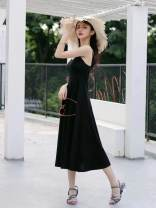 Dress Autumn of 2019 black XS,S,M,L Mid length dress singleton  Sleeveless Sweet V-neck High waist Solid color other A-line skirt other camisole Type A More than 95% brocade cotton Mori