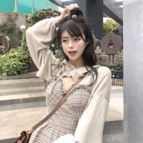 Dress Autumn 2020 Plaid suspender skirt with design and top S, M Short skirt Two piece set Sweet lattice