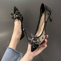 Low top shoes 34 35 36 37 38 39 Yongxi Black Beige upgrade black upgrade Beige Sharp point Mesh Fine heel High heel (5-8cm) Shallow mouth PU Spring 2021 Trochanter Korean version Adhesive shoes Youth (18-40 years old) Solid color rubber Single shoes PU leisure time Pure e-commerce (online only)