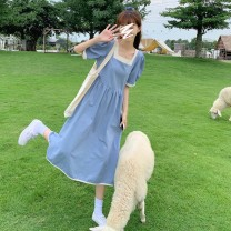 Dress Summer 2021 Orange, blue, black, light blue @ 7868 Average size Mid length dress singleton  Short sleeve commute square neck Loose waist Socket A-line skirt 18-24 years old T-type Korean version 31% (inclusive) - 50% (inclusive) other