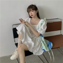 Dress Summer 2021 White, blue, black Average size Middle-skirt singleton  Short sleeve commute square neck Loose waist Solid color Socket Ruffle Skirt puff sleeve Others 18-24 years old T-type Korean version 31% (inclusive) - 50% (inclusive)