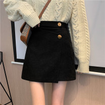 skirt Spring 2021 S,M,L black Short skirt commute High waist A-line skirt Solid color Type A 18-24 years old 31% (inclusive) - 50% (inclusive) other Other / other Korean version