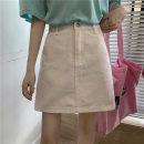 skirt Summer 2021 S,M,L,XL White, purple, black Short skirt commute A-line skirt Solid color Type A 18-24 years old 31% (inclusive) - 50% (inclusive) Denim Pocket, button, zipper Korean version