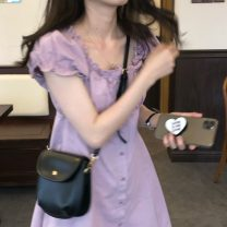 Dress Summer 2021 Purple, black Average size Mid length dress singleton  Short sleeve commute square neck Loose waist Solid color Socket A-line skirt puff sleeve Others 18-24 years old Type A Korean version 31% (inclusive) - 50% (inclusive)