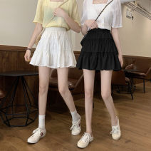 skirt Summer 2021 Average size White, black Short skirt commute High waist A-line skirt Solid color Type A 18-24 years old 31% (inclusive) - 50% (inclusive) other Korean version