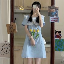 Dress Summer 2021 Blue dress Average size Mid length dress singleton  Short sleeve commute Doll Collar Loose waist Solid color zipper A-line skirt routine Others 18-24 years old Type A Korean version 31% (inclusive) - 50% (inclusive)
