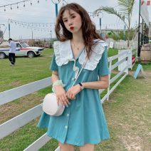 Dress Summer 2021 Purple, black, Nilan, green @ 9012 S. M, l, average size Mid length dress singleton  Short sleeve commute Doll Collar Loose waist Solid color Single breasted A-line skirt routine Others 18-24 years old Type A Korean version 31% (inclusive) - 50% (inclusive) other