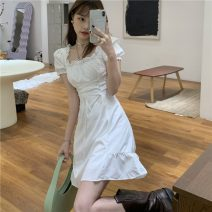 Dress Spring 2021 S. M, average size Mid length dress singleton  Short sleeve commute One word collar High waist Solid color Socket A-line skirt puff sleeve Others 18-24 years old Type A Korean version 31% (inclusive) - 50% (inclusive)