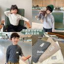 T-shirt Off white, grey, khaki No.7 Tong Cang 80cm,90cm,100cm,110cm,120cm,130cm male winter Long sleeves Crew neck Korean version There are models in the real shooting nothing other other BBZ0014 18 months, 2 years, 3 years, 4 years, 5 years