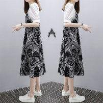 Dress Summer 2020 black S,M,L,XL,2XL,3XL Mid length dress Fake two pieces Short sleeve commute Crew neck Loose waist other A-line skirt routine Others Type A Korean version printing